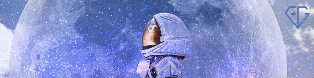 An astronaut stares off wistfully, in front of a periwinkle moon. He does not know where the f*ck his body is.