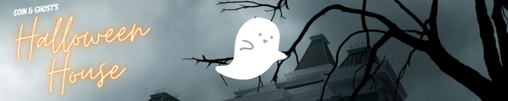 """A spooky lil' ghost on a haunted house background. On the left, a neon sign that says """"Halloween House"""""""